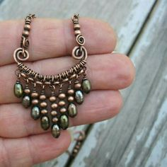 Oxidized Copper Bar Necklace with Pearl Dangles #wirework #wire #work #necklace