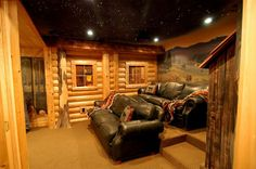 Log cabin style home theater with hand-painted murals and ceiling with fiber opt… – Trendry Movie Room Decor – Hometheaters Home Theater Basement, Home Theater Furniture, Home Theater Decor, Best Home Theater, Home Theater Speakers, Home Theater Rooms, Home Theater Projectors, Home Theater Seating, Home Theater Design