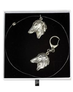 Azawakh, Dog Keyring and Necklace in Casket, Elegance Set, Limited Edition, ArtDog Casket, Jewelry Sets, Statue, Drop Earrings, Chain, Elegant, Dogs, Silver, Gifts