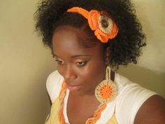 Urban Forever Earring Necklace orange and Ivory by snchastang25, $11.00
