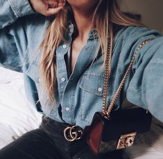 Gucci Padlock Bag - Chestfie 👠 Stylish outfit ideas for women who love fashion! Cute Spring Outfits, Sexy Outfits, Stylish Outfits, Fashion Outfits, Denim Outfits, Denim Fashion, Love Fashion, Trendy Fashion, Spring Fashion