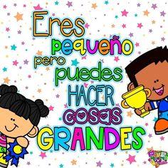 Spanish Classroom Activities, Preschool Curriculum, Kids Learning Activities, Motivational Quotes In Spanish, Puppet Tutorial, Teacher Posters, Grammar Book, Teacher Stickers, School Clipart