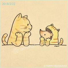 1421 #猫の日 #catday #illustration #hedgehog #cat #イラスト #ハリネズミ #猫 #なみはりねずみ