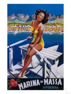 Apuania, Italy - Massa Marina Travel Poster Impressão artística