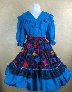Square Dance  Patchwork Printw Lace Trim Skirt w/ Teal Blouse XL  #MalcoModesSquareUp