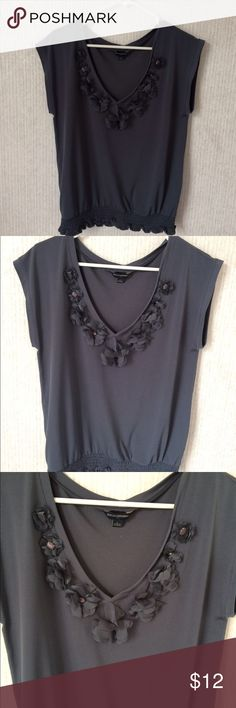 Banana republic gray/blue embellished flowers top Stored in a smoke free home. Great condition. No rips, tears, holes, snags or stains. Please feel free to bundle and negotiate prices. Banana Republic Tops Blouses