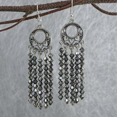 DesigningCrystal.com ::: Silver Smoke Dreamcatcher #Swarovski Crystal Earrings Our #Dreamcatcher #earrings are available in 3 lengths.  Buy two pair and receive a 3rd pair FREE! #jewelry