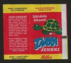 VINTAGE-FINNISH-HELLAS-JENKKI-BUBBLE-GUM-WRAPPER-TARRA-JENKKI, '70s