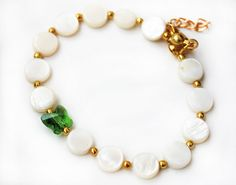 Bracelet with mother of pearl and swarovski by asteriascollection, $7.00