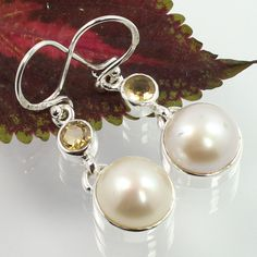 New Collection Earrings Real PEARL & CITRINE Round Gemstones 925 Sterling Silver #SunriseJewellers #DropDangle