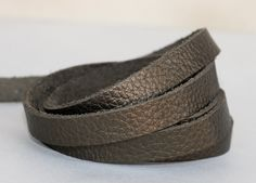 20mm  Leather  Flat cord , Metallic Army Green Genuine Leather Strap by JLLeatherSupplies on Etsy
