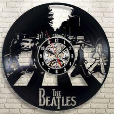 Free Shipping 1Piece New Creative Fashion Retro CD Vinyl Record Wall Clock The Beatles Zebra Crossing Wall Clock Home Decor