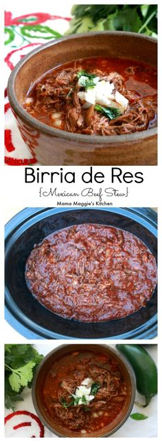 Birria de Res (or Mexican Beef Stew) is the ultimate comfort food. Made in a slow cooker to develop rich, bold flavors that your tastebuds will love. by Mama Maggie's Kitchen #mexicanfood #mexican #mexicancuisine #recipe #birria #birriaderes #slowcooker #mexicanbeef #stew #mexicanstew
