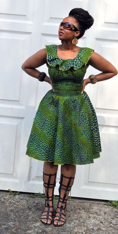 Balma Dress in green hues. by HouseofAfrika on Etsy ~DKK ~African fashion, Ankara, kitenge, African women dresses, African prints, African men's fashion, Nigerian style, Ghanaian fashion.