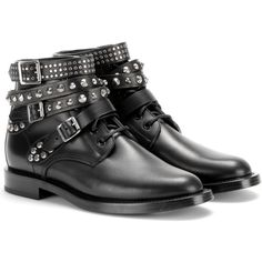 Saint Laurent Rangers Leather Ankle Boots found on Polyvore featuring shoes, boots, ankle booties, botas, sapatos, black, black bootie, leather boots, short leather boots and leather bootie