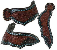 Showman ® Adult size leather dove wing spur straps with floral tooling and teal buck stitching