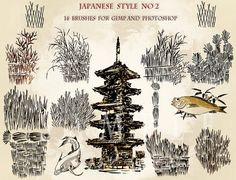 Japanese style14 brushes for GIMP and Photoshop.Digital by AszArt