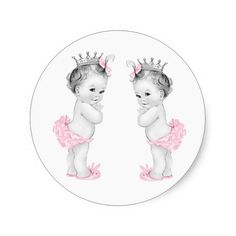 Twin Girls Pink Princess Baby Shower Stickers
