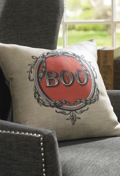 "Tell the revelers that visit your home this fall you mean business when it comes to Halloween style with our startlingly sophisticated ""BOO"" Vintage Halloween Pillow."