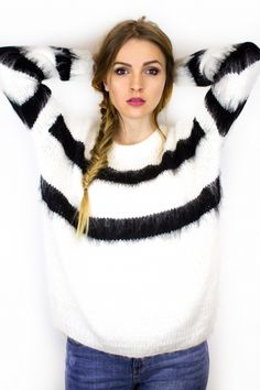 Pull cocoon blanc rayures noires