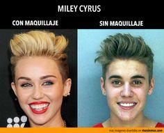 Miley Cyrus: con y sin maquillaje.