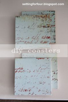 Easy Custom DIY Mod Podge Coasters Tutorial using leftover tile or pre-made coasters- make these DIY Decor accessories for your home or for a gift! Stocking stuffer, teacher gift, neighbor gift, hostess gift.