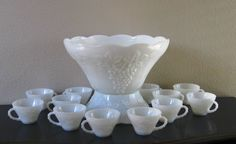 Milk glass harvest punch bowl cups | Request a custom order and have something made just for you.