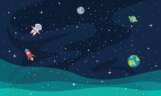 Ilustración del espacio Wallpaper Powerpoint, Powerpoint Background Design, Powerpoint Design Templates, Normal Wallpaper, Wallpaper Space, Computer Wallpaper, Astronaut Wallpaper, Kids Background, Planets Wallpaper