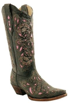 Black&pink corral boots
