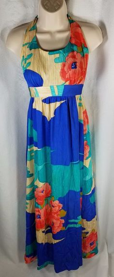 Tori Richard Dress Size 6 Vintage 70s Maxi Halter Floral Print Long Blue Green #ToriRichard #MaxiHalter #CasualClubwearBeachSummerFestive