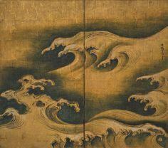 波濤図展図,尾形光琳,18th century,Japan