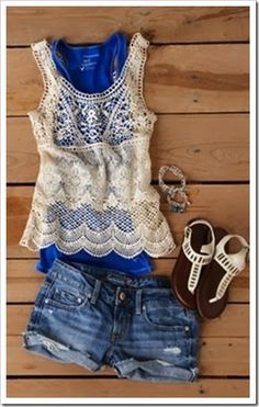 Lovely sheer lace top and short combo