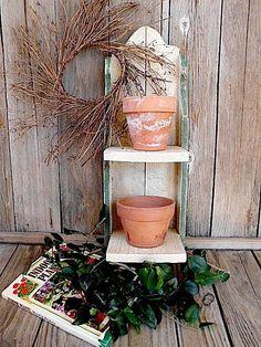 Garden Barnwood Inspired Shelf  - Upcycled - Vintage Planter Pots - Book - Home Decor Collection. $27.95, via Etsy.