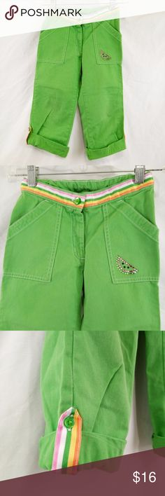 Gymboree Girls Capri Size 7 Green Genuine Kids OshKosh Jeans Toddler Boys Size 3T Blue Straight Leg Cotton Gymboree Bottoms Casual