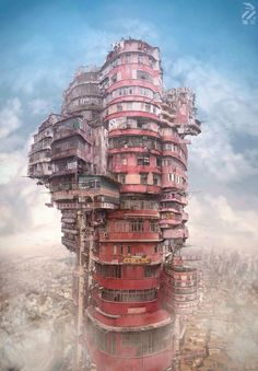 The Original, Real-Life Dystopian Cityscape of Kowloon Walled City, and the Artwork It Inspired - Kowloon Walled City, Fantasy Kunst, Dark Fantasy Art, Fantasy Artwork, Environment Concept Art, Environment Design, Art Environnemental, Design Spartan, Drawn Art