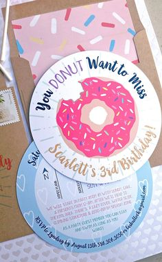You DONUT Want to Miss...Pink Sprinkle Donut Birthday Invitation with Sprinkle Envelope Liner and Round Return Address Stickers, Cordial Punch Press. Birthday Party Theme, Donut Birthday, Birthday Party Ideas, Bakery Birthday.