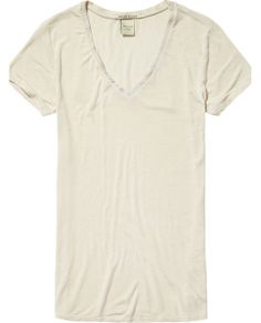 V-neck tee with leather details | T-shirt s/s | Woman Clothing at Scotch & Soda