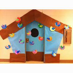 Birdhouse for classroom door. Ortiz-Puerto Will you help me? Classroom Welcome, Owl Classroom, Preschool Bulletin Boards, Classroom Themes, School Themes, School Fun, School Doors, Kindergarten Fun, Door Ideas