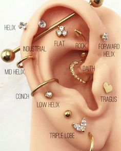Cool Ear Piercings Tattoos - Cool ear piercings , coole ohrlöcher , piercings d'oreille cool , perforaciones fr - Pretty Ear Piercings, Ear Piercings Chart, Ear Peircings, Types Of Ear Piercings, Ear Piercings Cartilage, Multiple Ear Piercings, Lip Piercings, Double Cartilage, Different Ear Piercings
