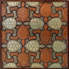 An original (and one of the very first) RTK Studios creations. - Tessellating Turtle deco An original (and one of the very first) RTK Studios creations. Mc Escher Art, Escher Kunst, Escher Tessellations, Tessellation Patterns, Tesselations, Math Art, Art Graphique, Tree Art, Op Art