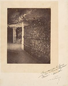 "Nadar, (French, 1820–1910). Catacombs, Paris, April 1862. The Metropolitan Museum of Art, New York. Gilman Collection, Purchase, Denise and Andrew Saul Gift, 2005 (2005.100.813) | This photograph is featured in ""Paris as Muse: Photography, 1840s–1930s,"" on view through May 4, 2014. #paris"