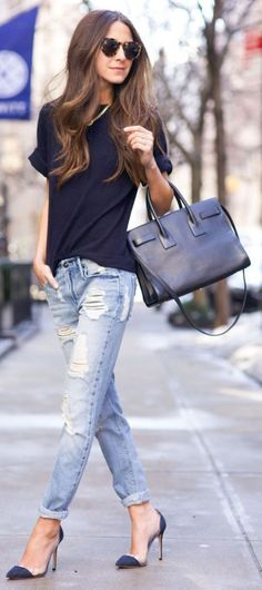 Business casual wearing shortsleeve top and rips