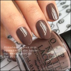 "OPI ""Squeaker of the House"" polish from its""Washington DC Fall/Winter 2016"" collection.  Creamy milk-chocolate brown."