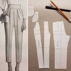 This is how you can make a pattern for pants with side pockets and pleat from your simple basic pattern.✂️✂️✂️ And new video on my… Fashion Sewing, Diy Fashion, Ideias Fashion, Korean Fashion, Diy Clothing, Sewing Clothes, Barbie Clothes, Sewing Pants, Dress Sewing Patterns