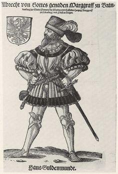 Title: Albrecht von Brandenburg              Tags: Waffenrock, Hat, Armour, Dagger              Date: 1st half of 16th Century                        Artist: Erhard Schoen              Provenance: Germany              Collection: Kupferstichkabinett