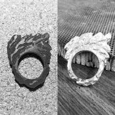 From wax to silver. Once the wax has been carved, we then send it to be cast in Birmingham where they use the process of lost wax casting and your ring returns to us and we finish it to your specifications.