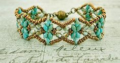 Linda's Crafty Inspirations: Bracelet of the Day: Golden Age Bracelet - Turquoise