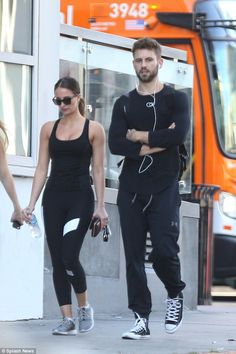 Working it out: Vanessa Grimaldi and Nick Viall seemed tense as they walked through Hollywood dressed in gym gear on Friday