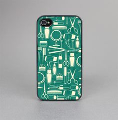 The Teal and Yellow Beauty Product Icons Skin-Sert for the Apple iPhone 4-4s Skin-Sert Case
