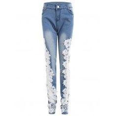 trendsgal.com - Trendsgal Bleach Wash Lace Trim Skinny Jeans - AdoreWe.com